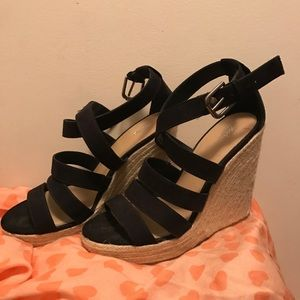 Black High platform espadrille wedges